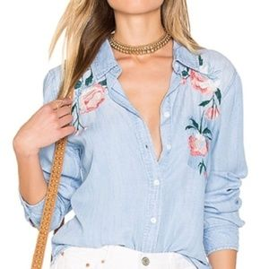 Rails Floral Embroidered Chambray Button Down Top